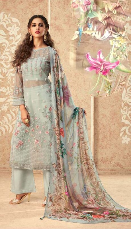 New trend designer banglori silk suit with chiffon printed dupatta.