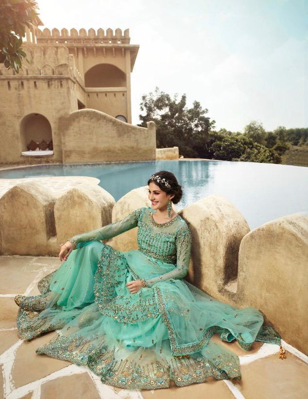 New trend designer best embroidered sky blue color gown with price.