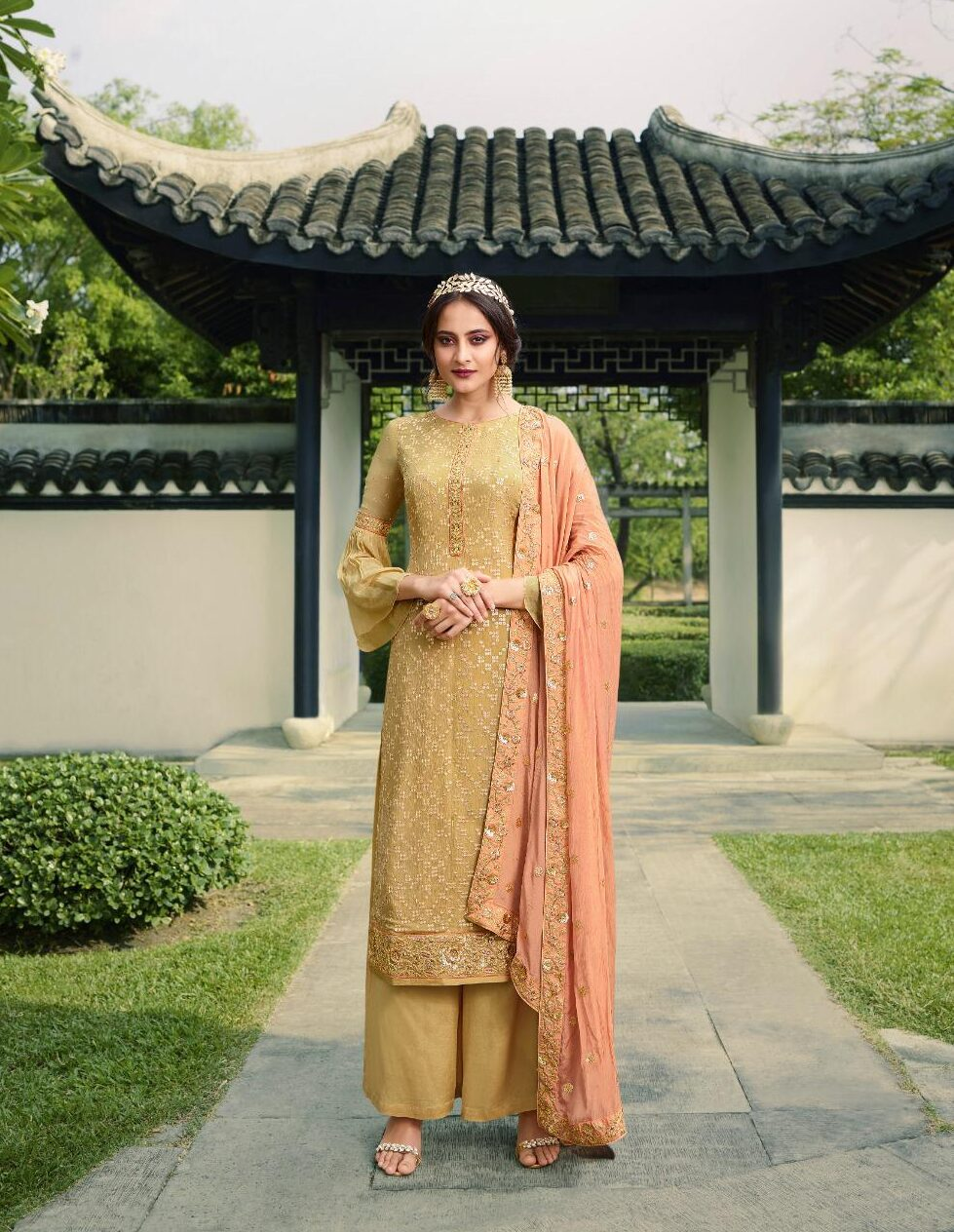 New trend designer best embroidered suit with pure chinnon dupatta.