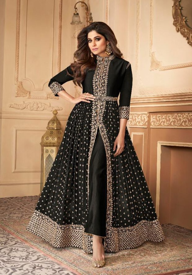 New trend designer black color best embroidered long suit online