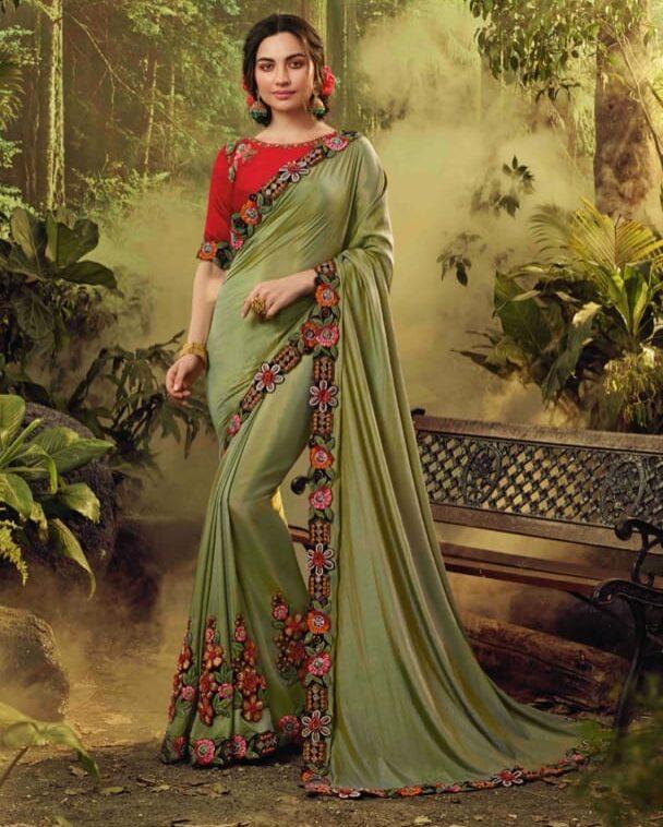 New trend designer gray color fancy silk saree for wedding.
