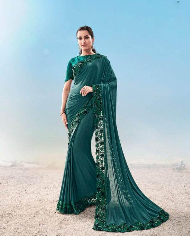 New trend designer green color heavy work bridal saree online