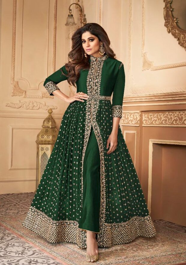 New trend designer green color long suit with price.