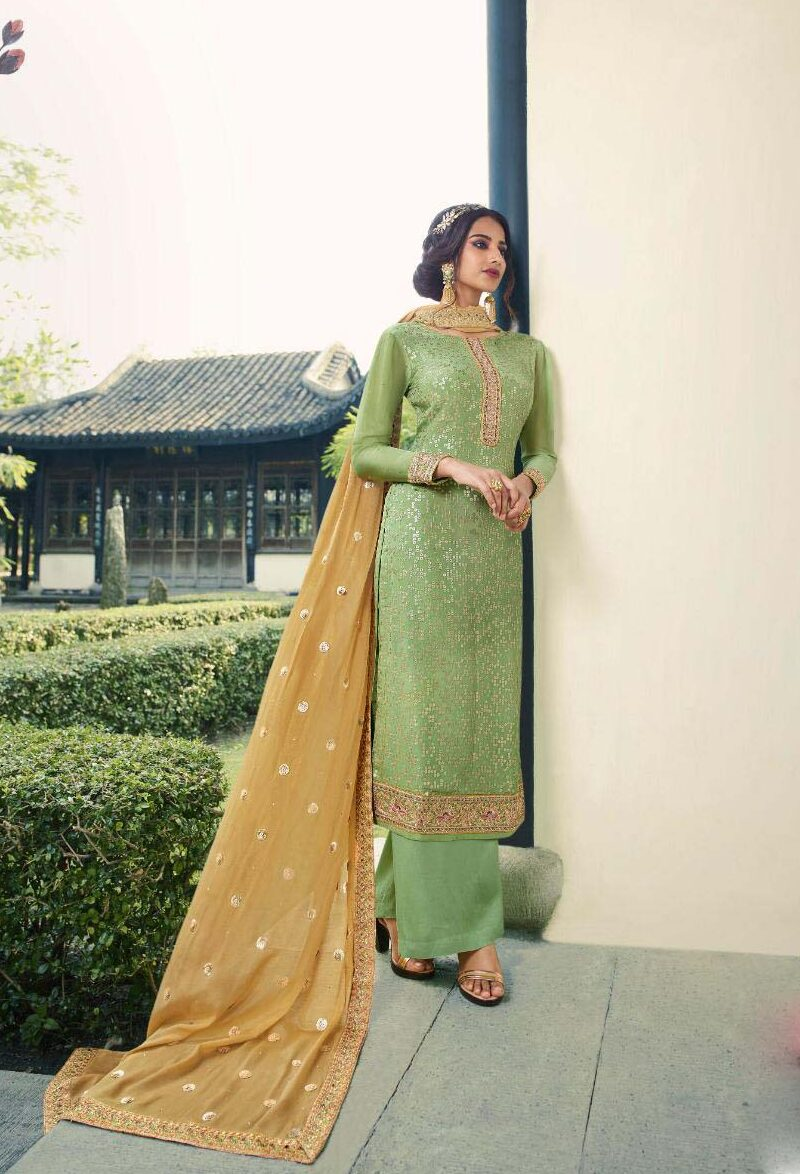 New trend designer light grey color embroidery pure chinnon suit.