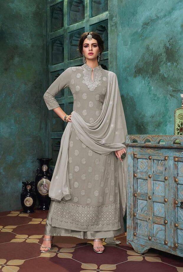 New trend designer light grey color heavy dull santoon with dupatta.
