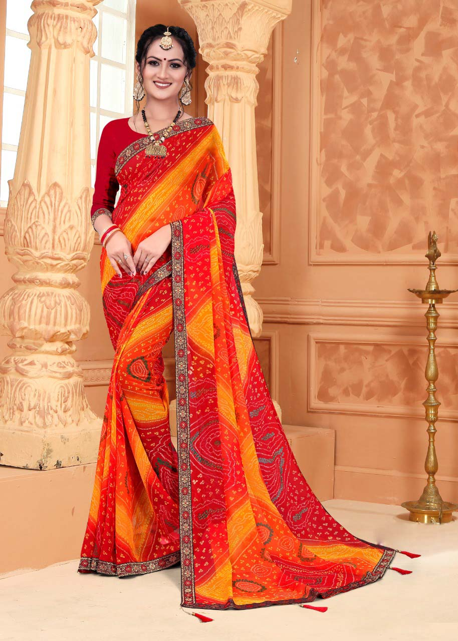 New trend designer multi-color casual wear saree with red blouse