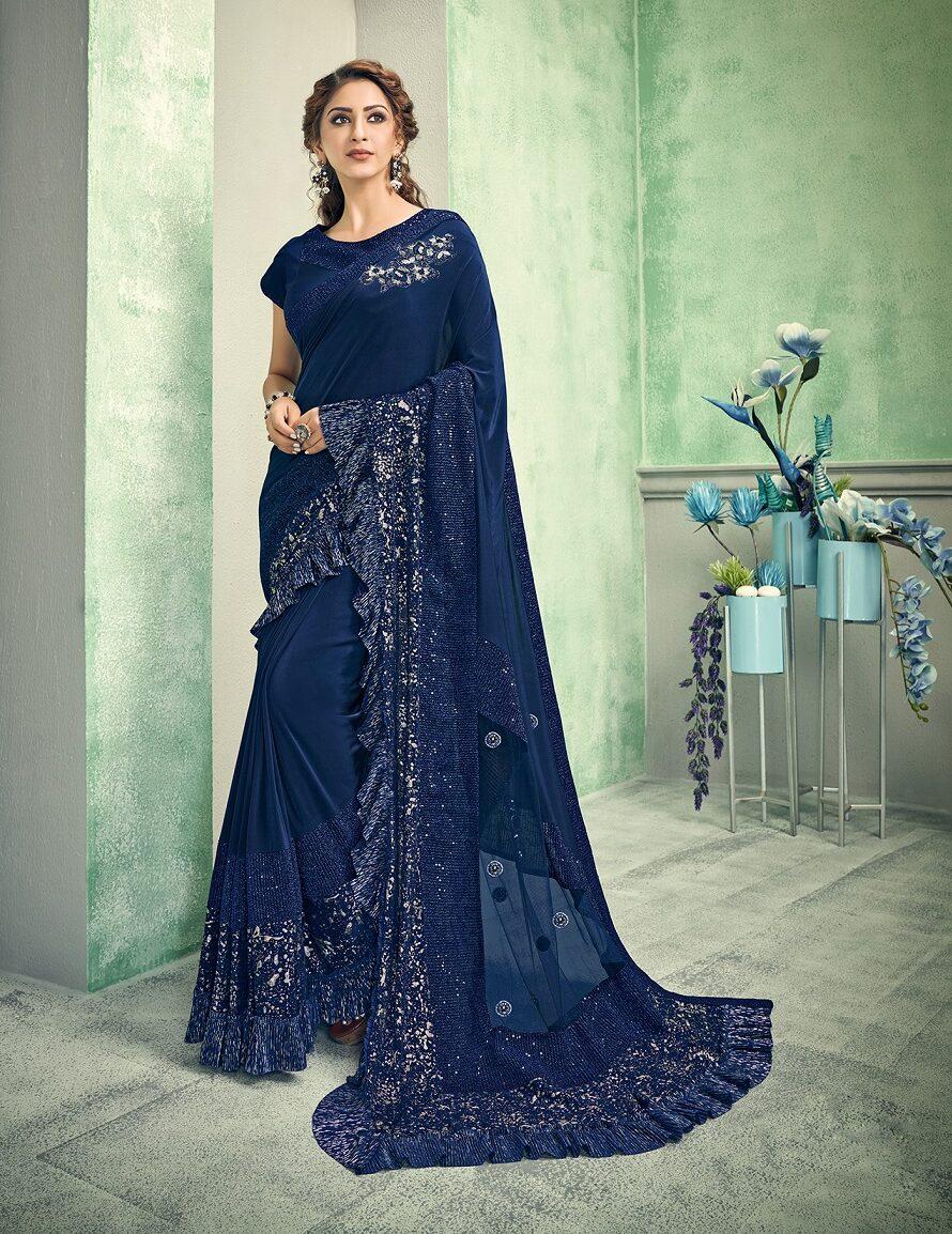 New trend designer Resham work saree with a raw silk blouse.