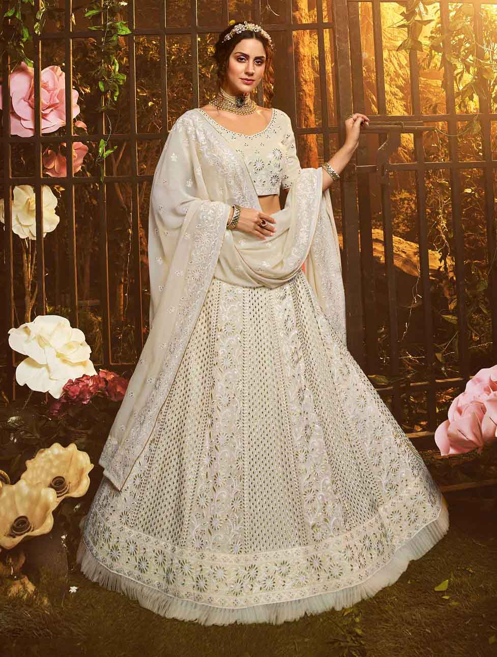 New trending designer white color gown with pink color soft net dupatta