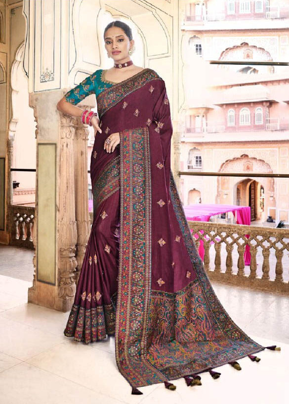 New trendy embroidered dola silk bridal saree for girls.