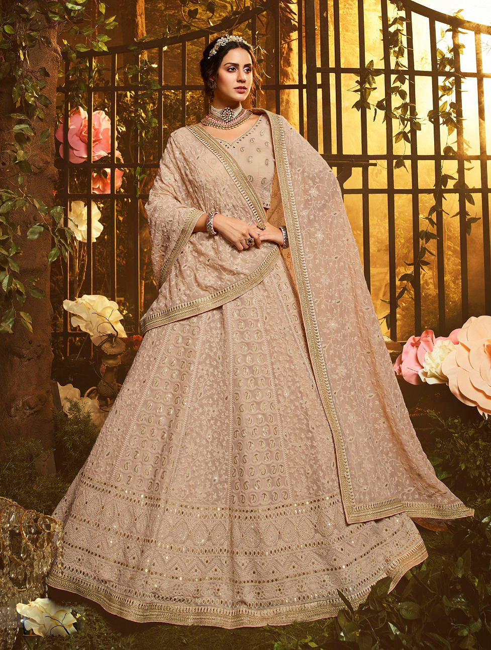 New trendy white color gown with white color soft net dupatta