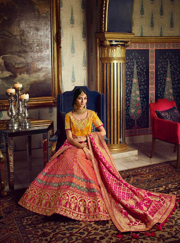 Present Day Style Producer Pink Color Lehenga with a price