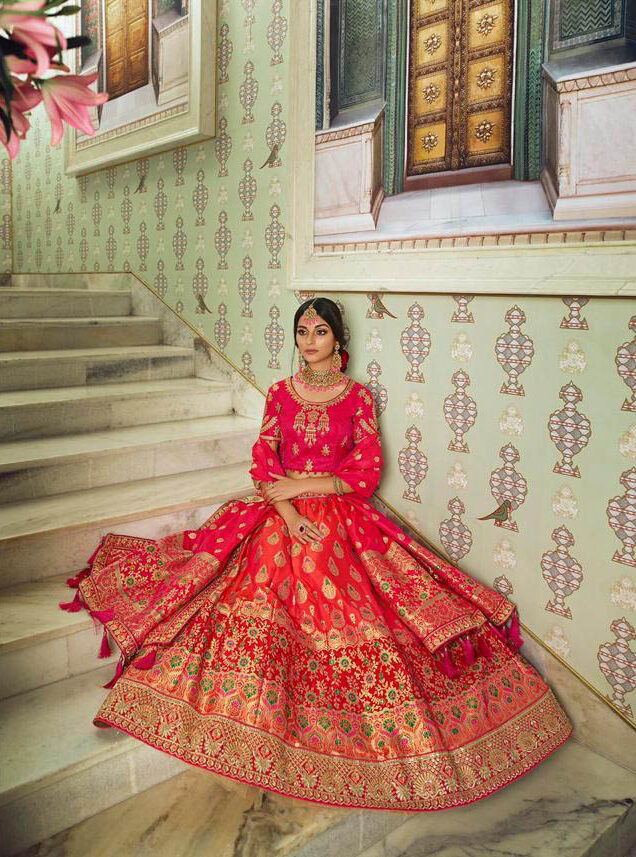 Present Day Style Producer Red Color Lehenga Online.