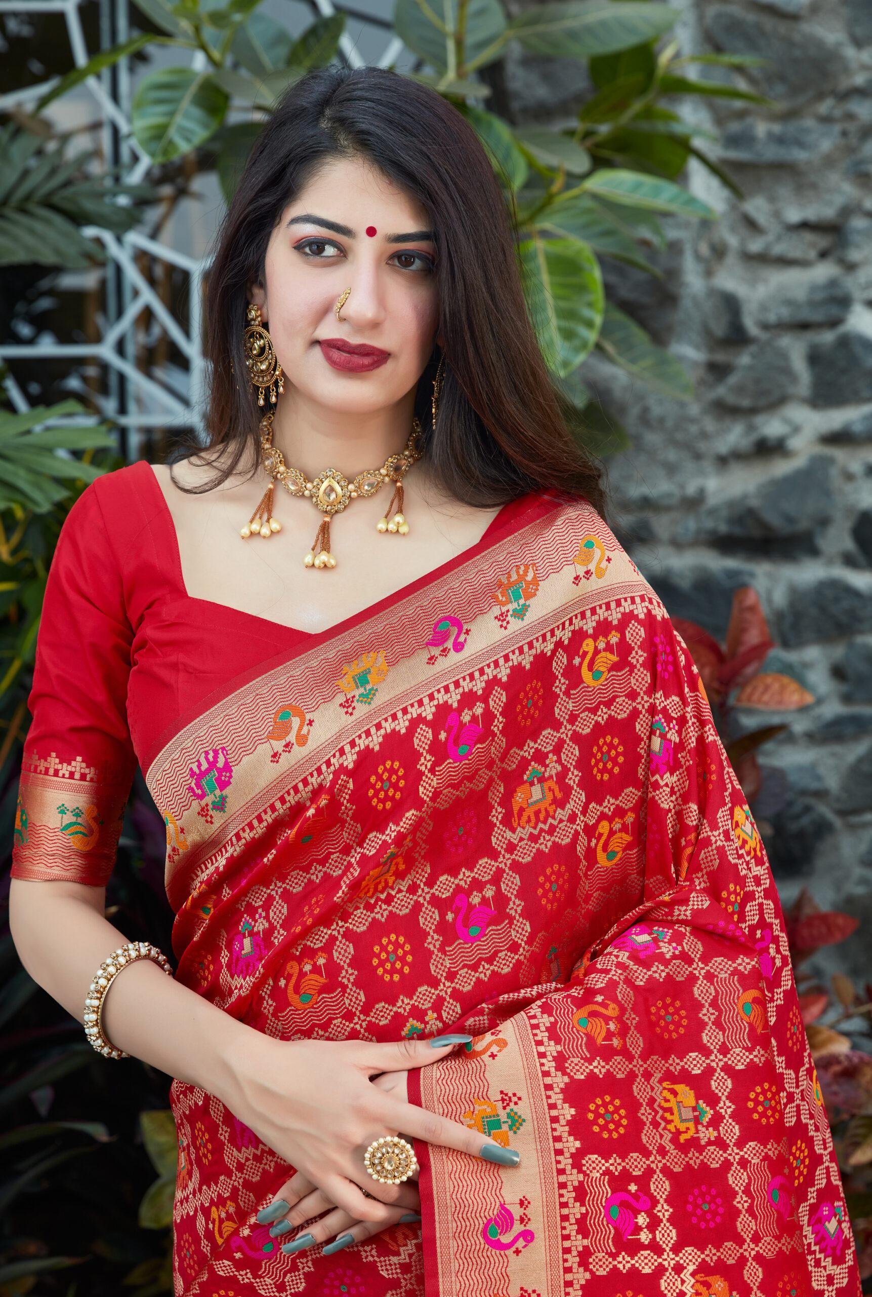 Red Banarasi Saree Photos Price Rich Pallu