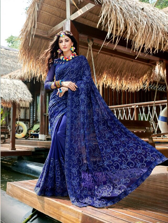 Royal Blue Georgette Embroidered Saree in 2020