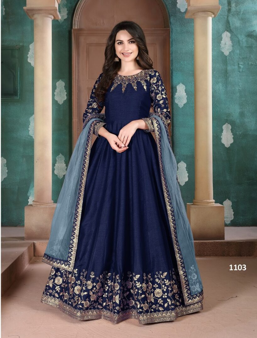 Royal Blue Latest Embroidered Gown Dress With Price
