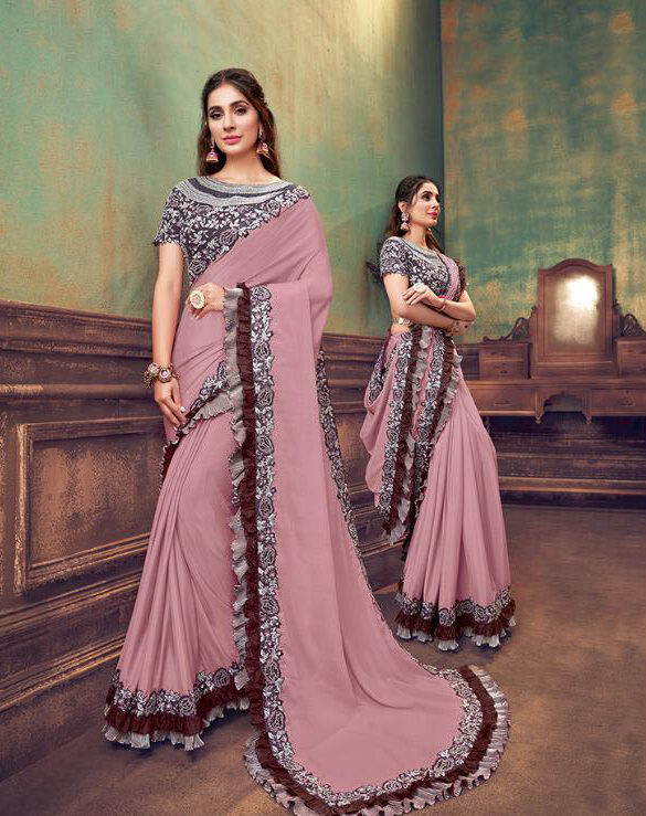 Wedding Designer Onion Pink Color Bridal Saree With Blouse