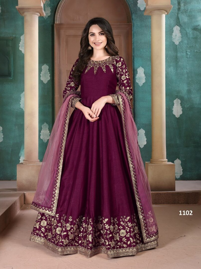 Wine Colour Latest Anarkali Gown Dress with Dupatta Online