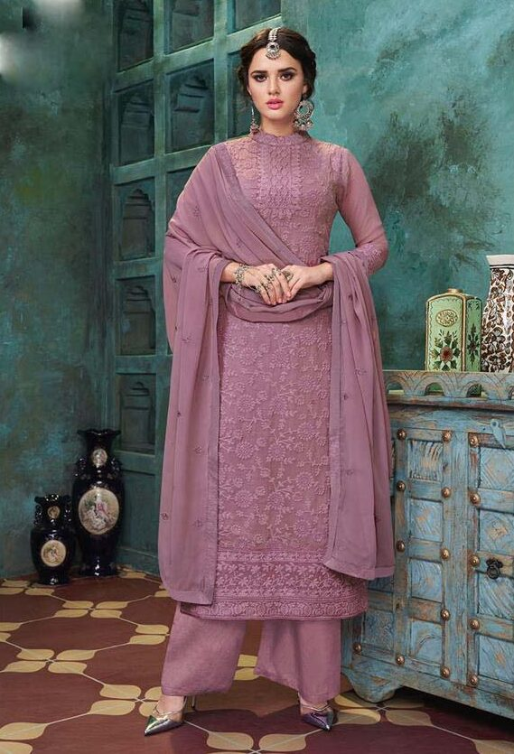 best embroidery heavy dull santoon suit with georgette dupatta.