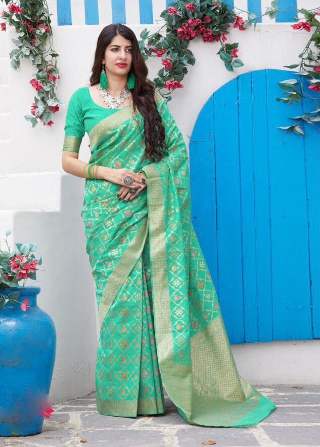 Best trending embroidered sky-blue silk saree with blouse.