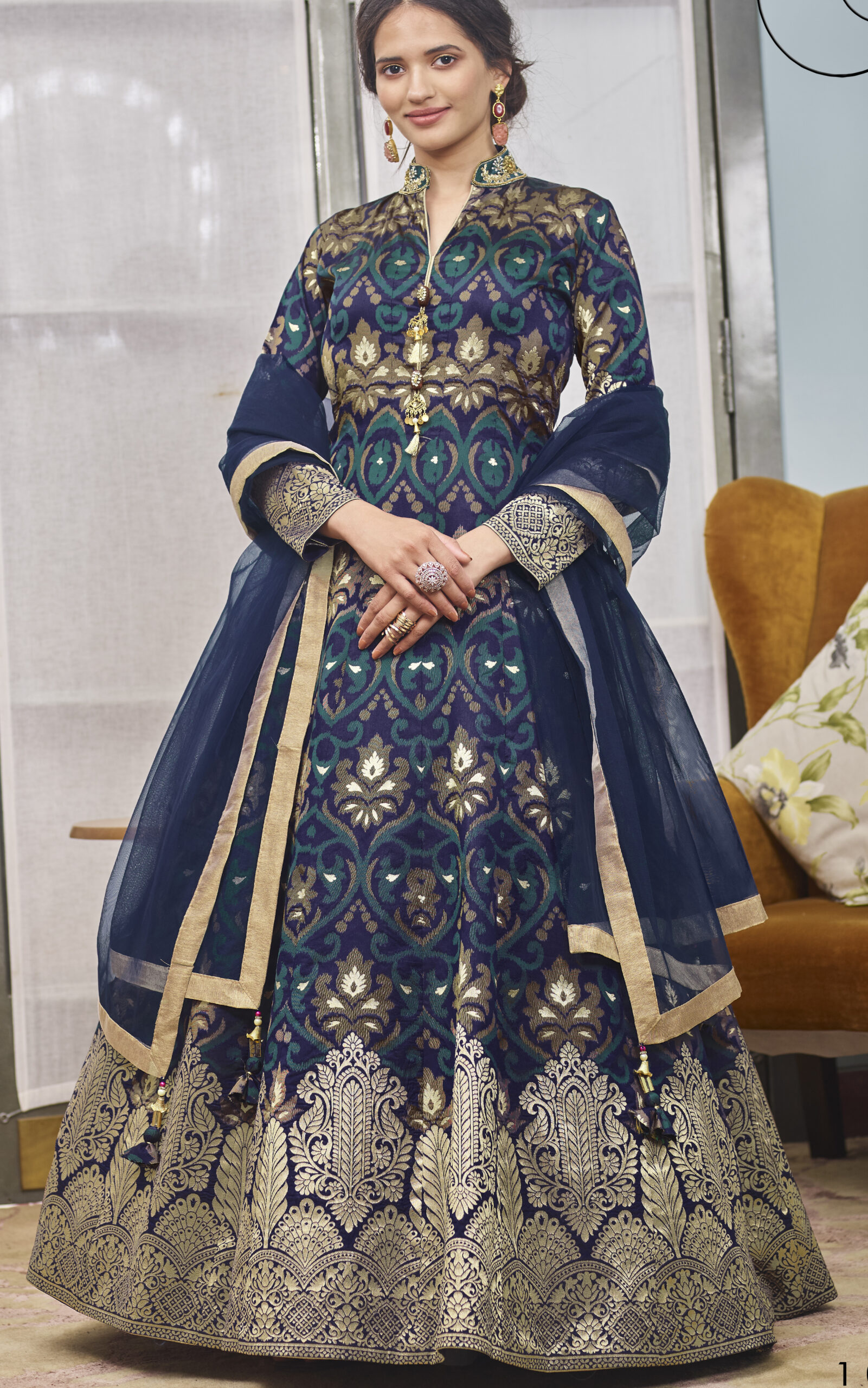 Dark Purple Organza Silk Gown for Wedding Reception Indian