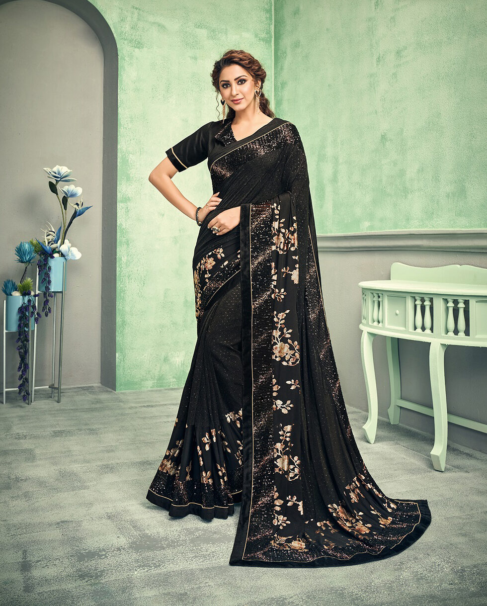 New trend designer black color wedding saree with the designing blouse.