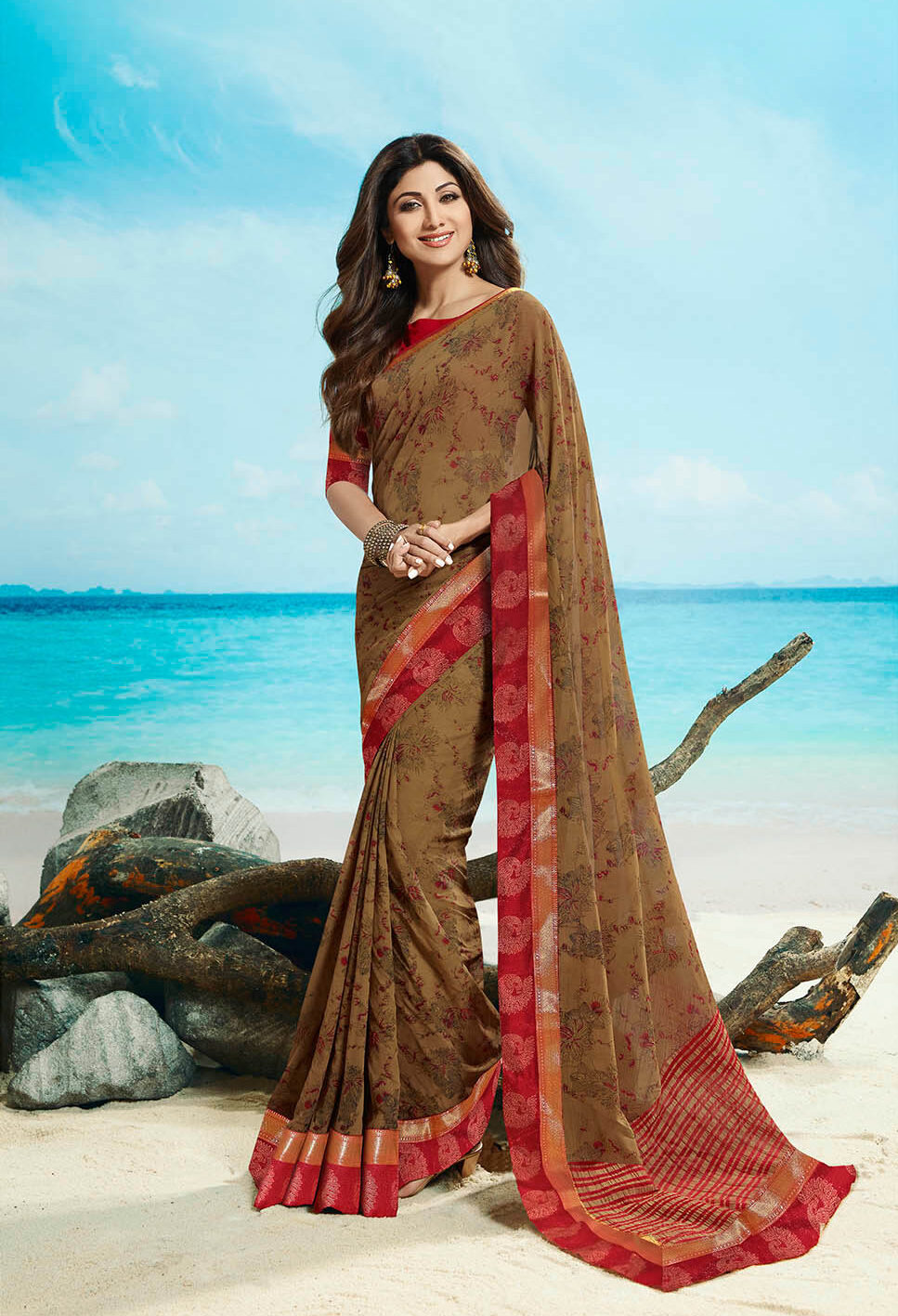 New trend designer brown color simple saree with embroidery blouse