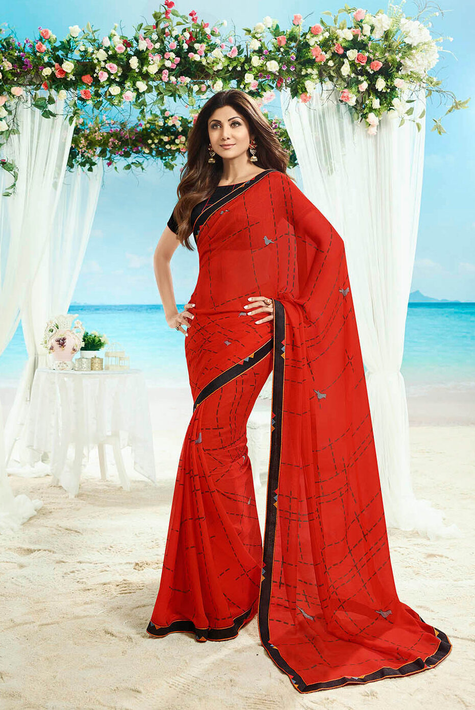 New trend designer red color simple saree with designing blouse.