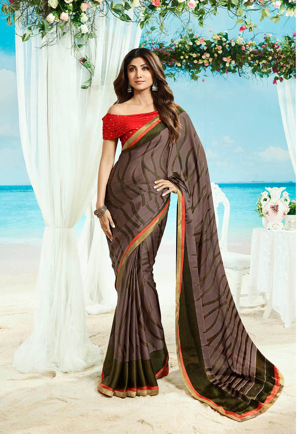 New trend designer simple saree with the embroidery blouse.
