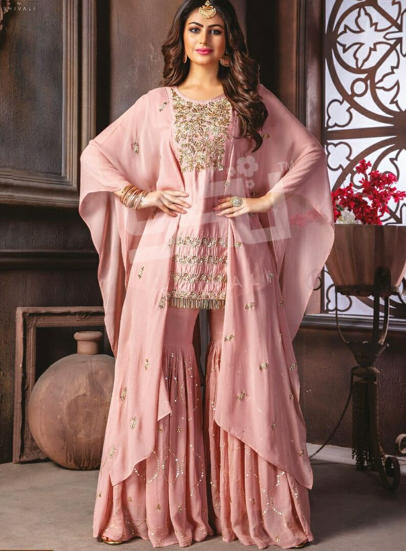 Baby Pink Latest Punjabi Sharara Suits Party Wear