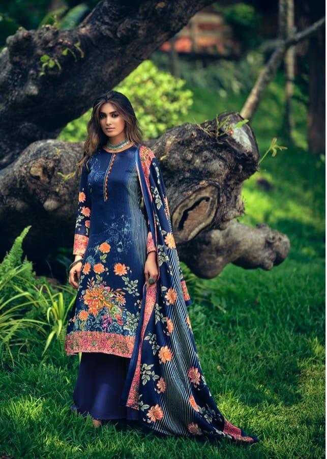 Best Blue Color Pashmina Heavy Winter Suit Online Cost.
