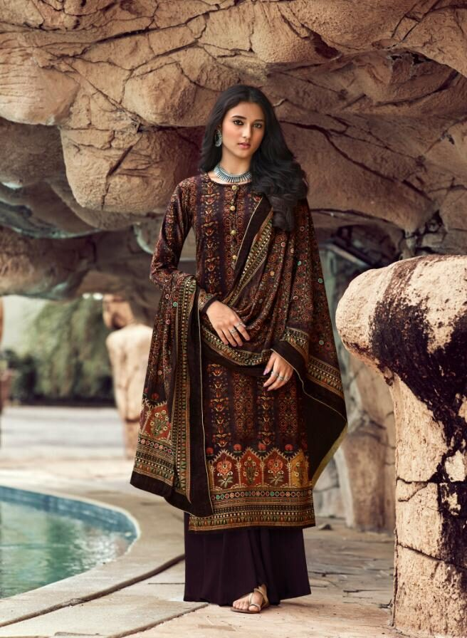 Best Brown Color Pure Pashmina Winter salwar kameez