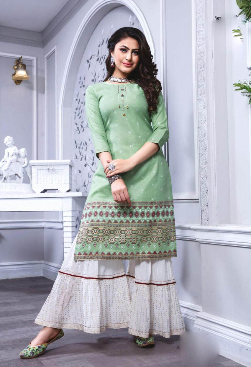 Best Designer Green Color Kashmiri Woolen Salwar Kameez.
