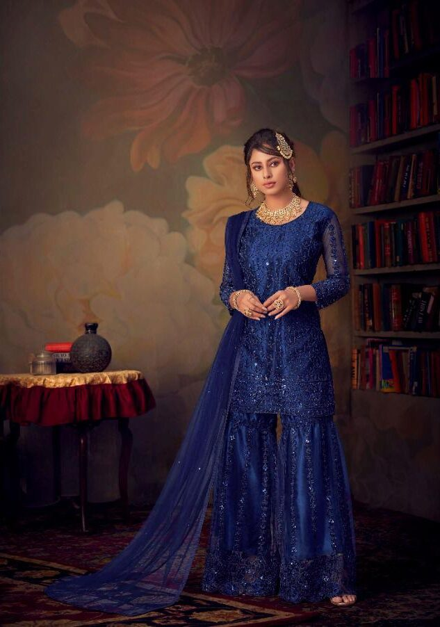 Best Embroidered Blue Color Sahara Suit With Net Dupatta.