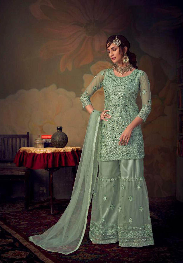 Best Embroidered Light Grey Color Sahara Suit With Net Dupatta