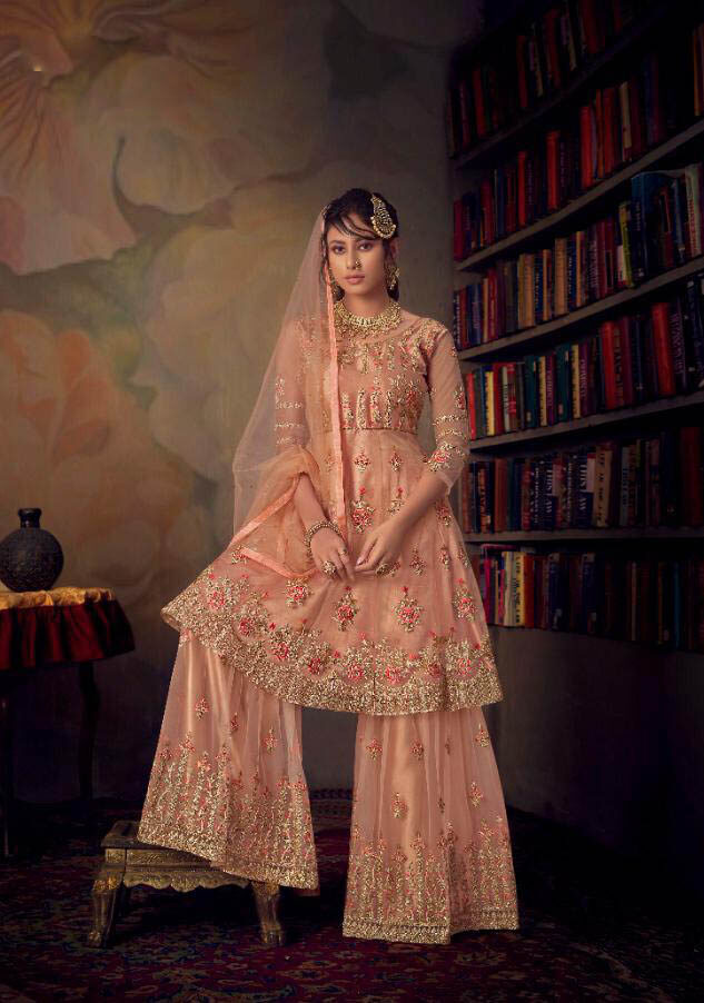 Best Embroidered Light Pink Color Sahara Suit For Partywear.