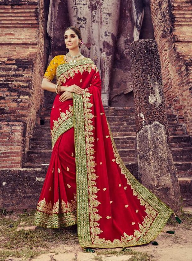 Best Festive Georgette Red Color Wedding Saree For Partywear