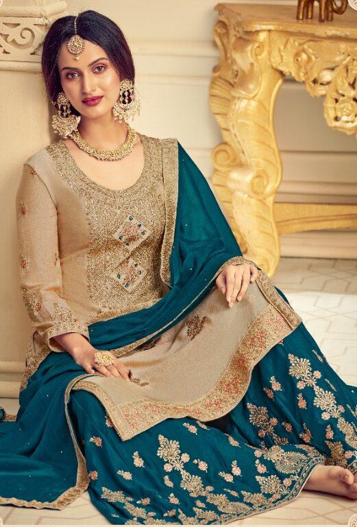 Best Georgette Light Grey Color Sahara Suit For Wedding