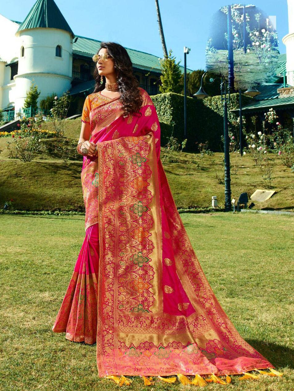 Best Georgette Pink Color Partywear Banarsi Silk Saree