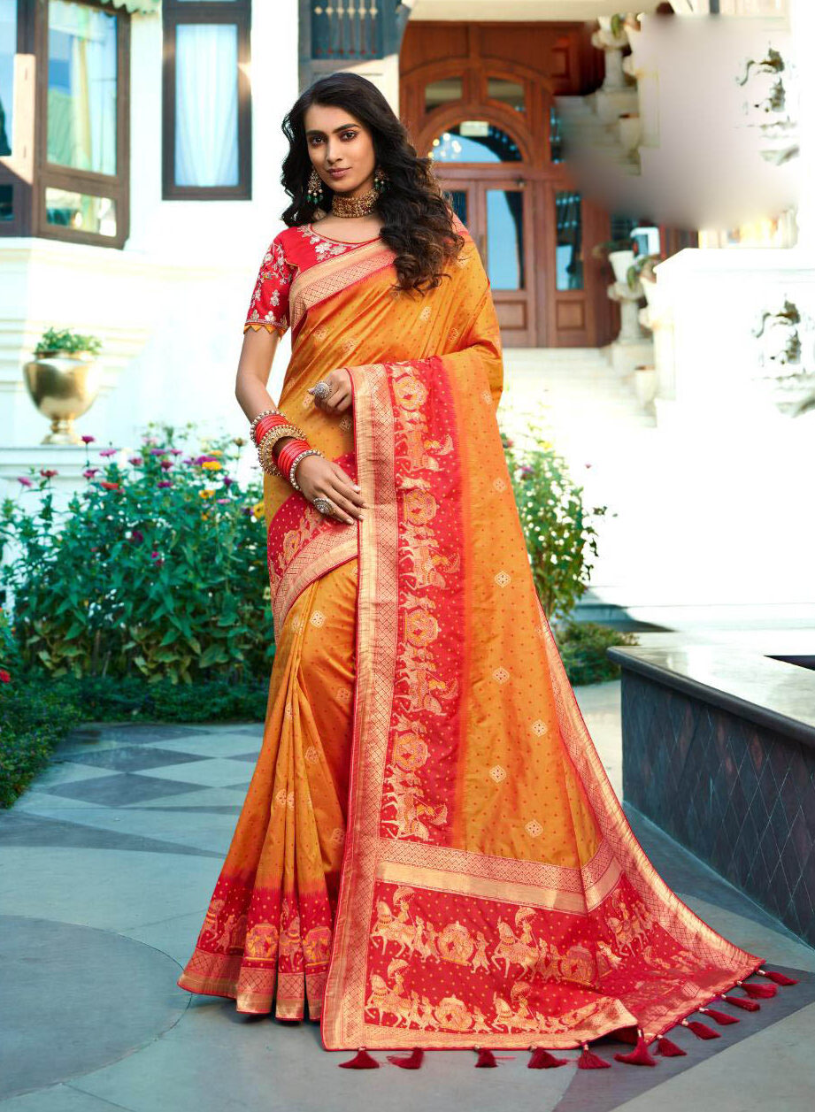 Best Georgette Turmeric Color Partywear Banarsi Silk Saree