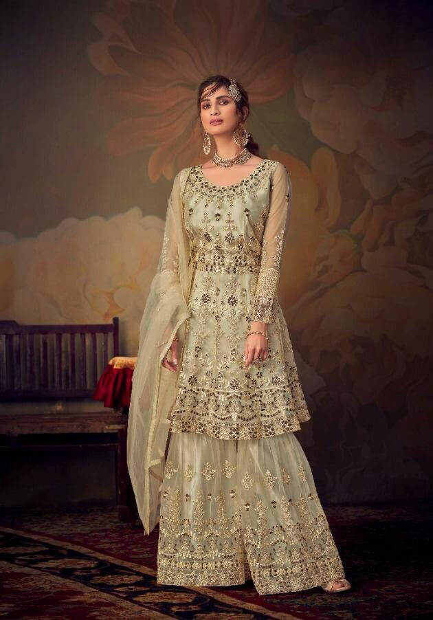 Best Heavy Embroidered White Color Sahara Suit With Online Cost.
