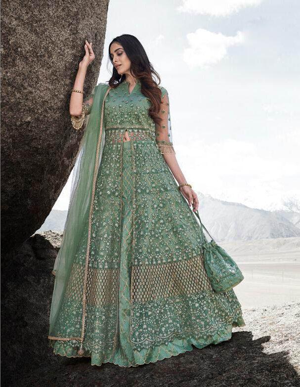 Best Latest Design Green Color Lehenga For Wedding Online.