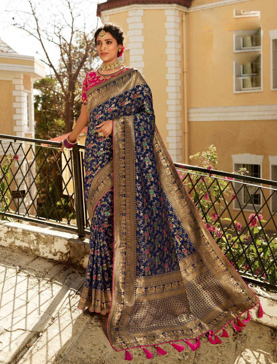 Best Latest Designer Blue Color Banarsi Silk Saree For Bride