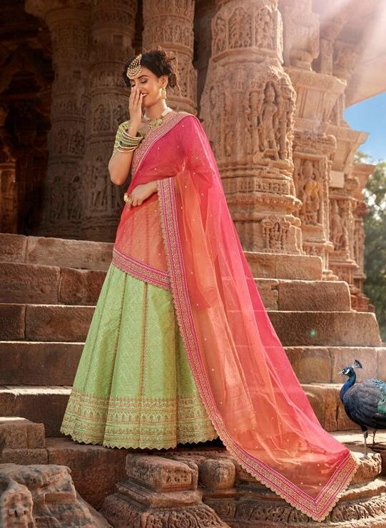 Best Latest Light Green Cream Lehenga For Partywear.