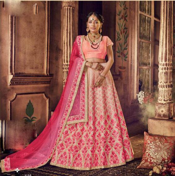 Best Latest Mode Light Pink Color Designer Lehenga For Bride.
