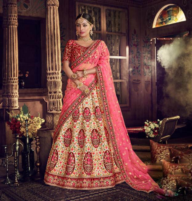 Best Latest Mode White Color Designer Lehenga For Bride.