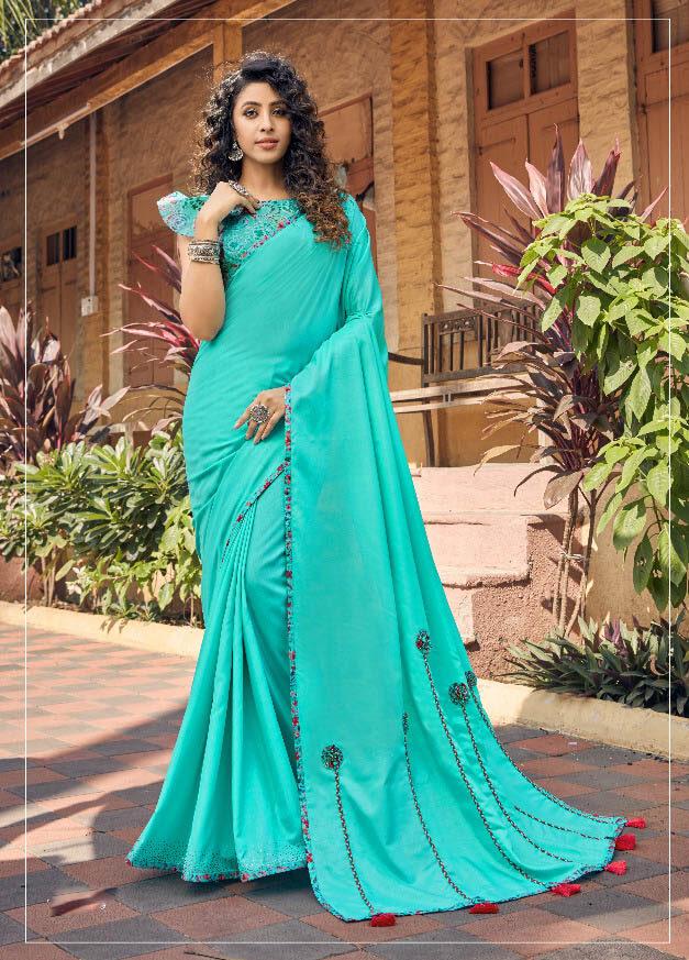 Best Latest Sky Blue Color Fancy Georgette Silk Saree