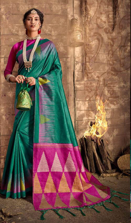 Best Latest Update Sky Blue Color Silk Saree With Pink Blouse