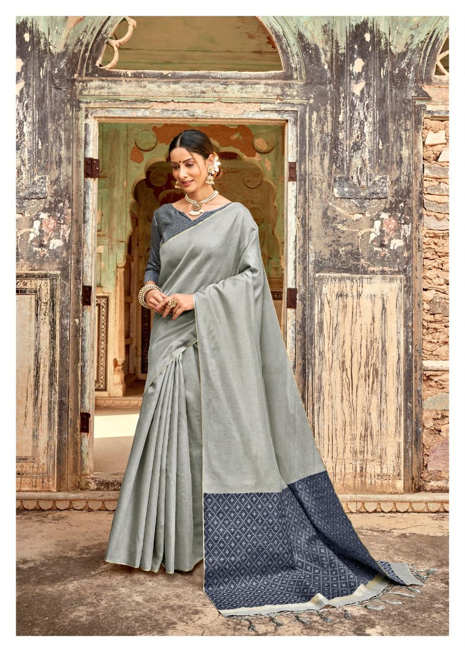 Best Latest fancy design Gray Color Cotton Silk Saree online Cost