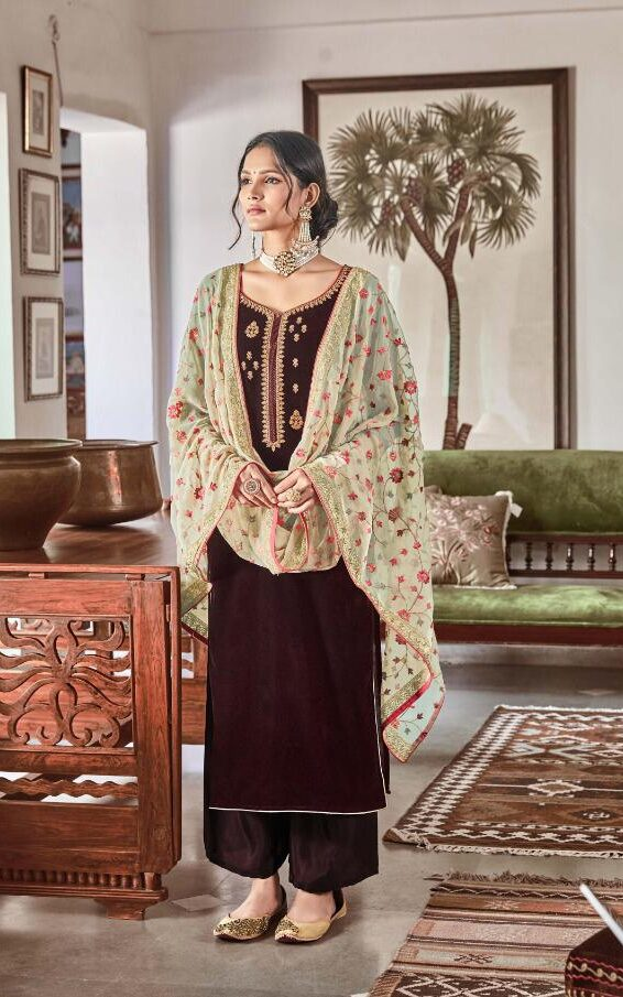 Best Look Brown Color Velvet Heavy Work Dupatta Suit.