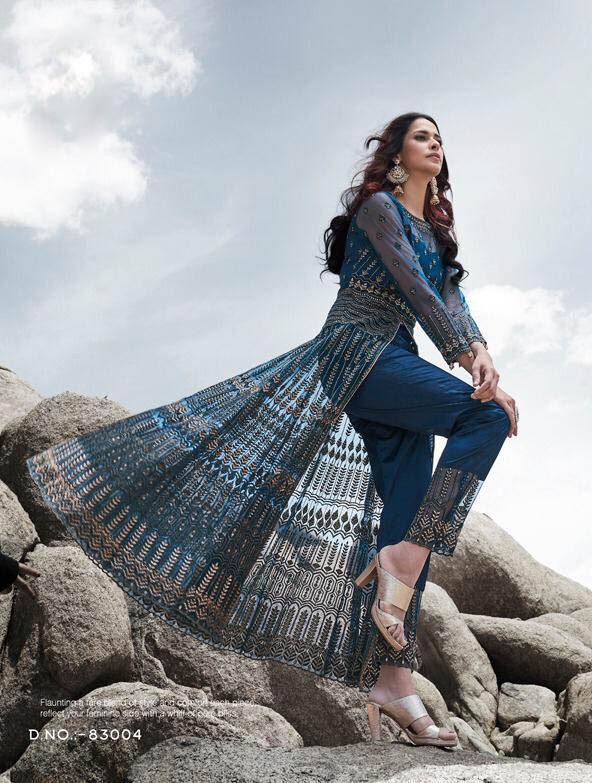Best Mohini Designer Blue Color Net Silk Gown For Wedding.